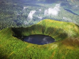 Crater lake at Mount Bisoke, one of the unique attraction in Rwanda