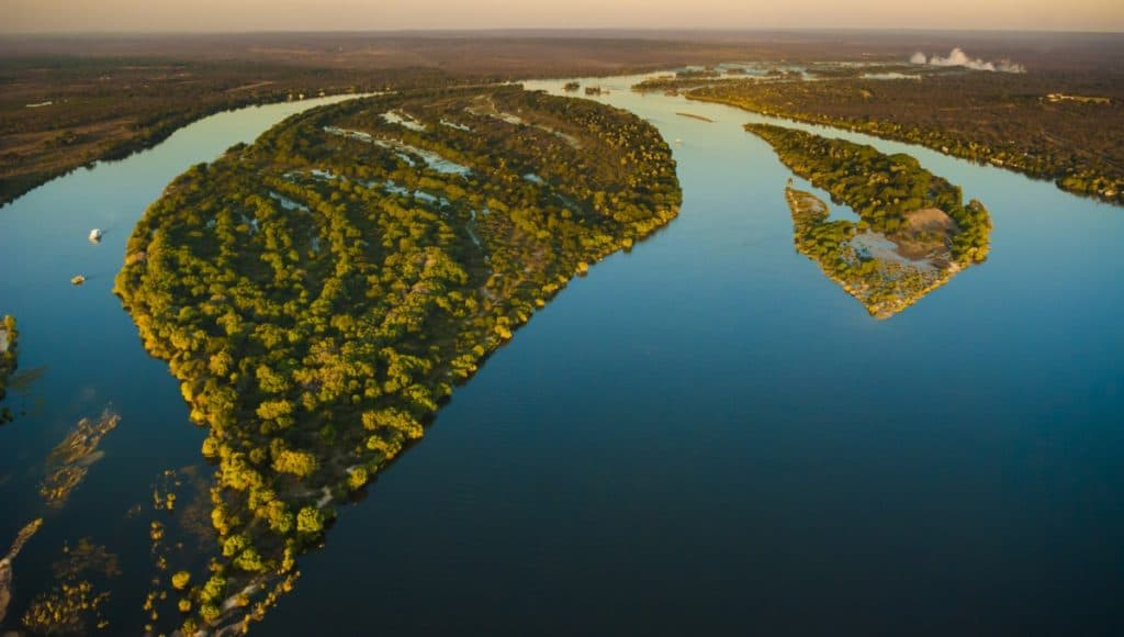 Zambezi River Aerial View. One of the longest river in Africa