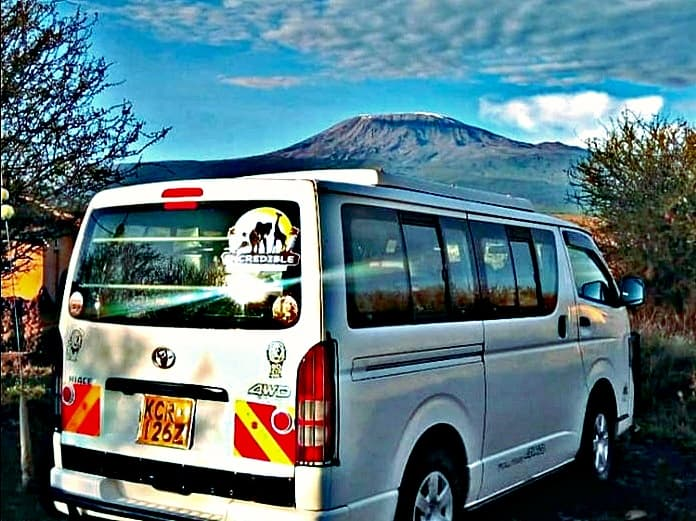 Clear View of Mt Kilimanjaro over our Tour Van