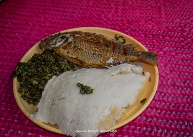 Fresh fish and Ugali for lunch