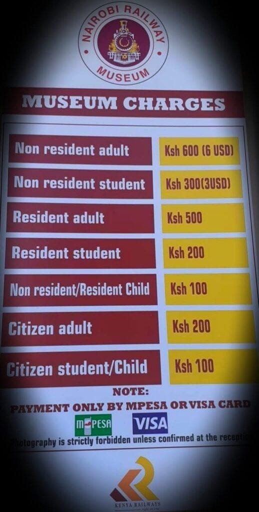 Nairobi Railways entrance fees