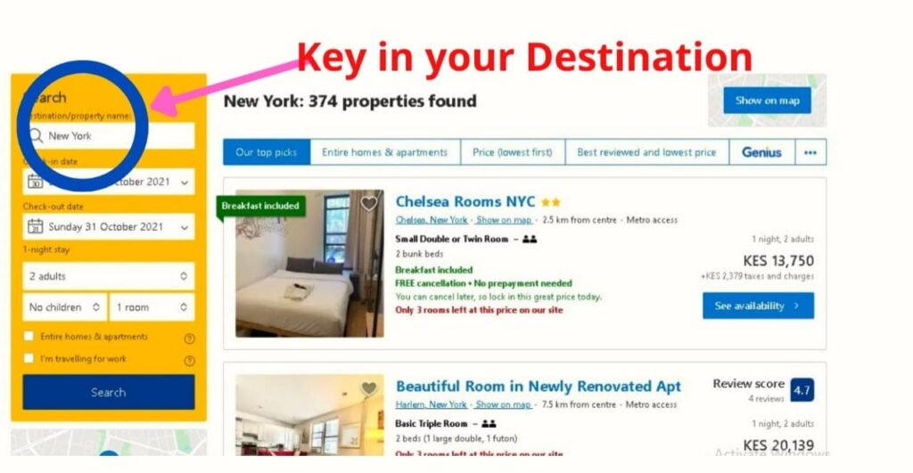 Key in your Destination you will get variety of Hotels